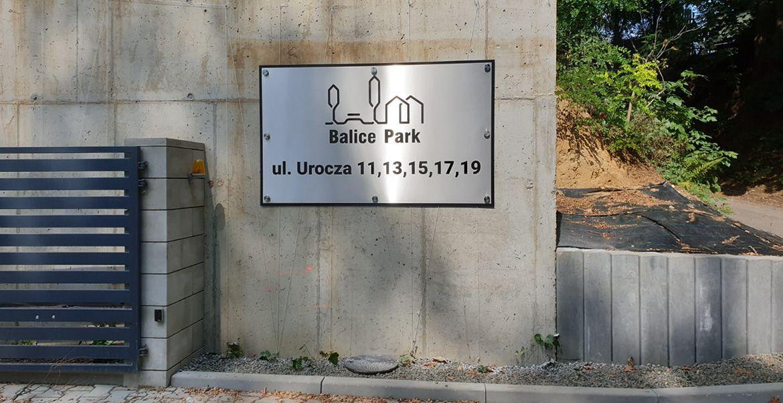 Oznakowanie osiedla Balice Park